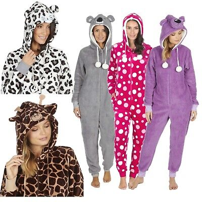 1Onesie Womens Girls Onezee Animal  Soft Snuggle Fleece All in One Pyjamas Pjs