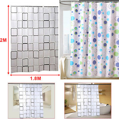 """Modern Bathroom Shower Curtain Extra Long With Rings 180 X 200 cm (71""""X78"""") UK"""