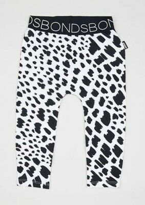 Bonds Leggings Baby BNWT Size 1 White Black Spots