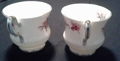 RUBY WEDDING Queens Fine Bone China England ROSINA Roses 2 Cups