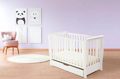 4Baby White Pisa Sleigh Cot Bed + Under Bed Drawer & Maxi Air Cool Mattress