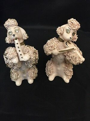Vintage Thames MidCentury Two Pink Spaghetti Poodle Dogs Fiddle & Horn Players