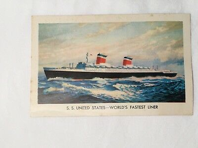 Vtg 1950s postcard. S.S.United States ship. Unposted. Very good.