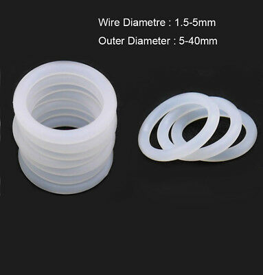 White Silicone Rubber Seal O Rings 1mm 1.5mm 2mm 2.4mm 3mm 3.5mm Wire Diameter