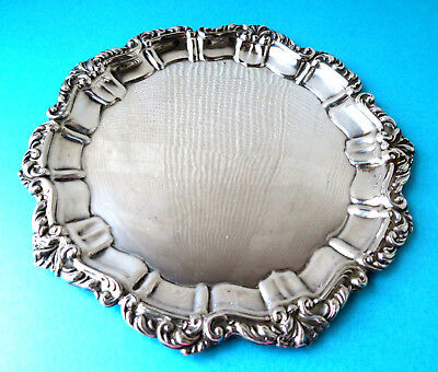 Antique English Silverplated Ornatte Rim,calling Card Tray.