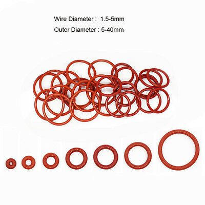 Silicone Rubber O Rings Outer Diameter 5mm to 40mm Cross Section 1.5mm-5mm Red