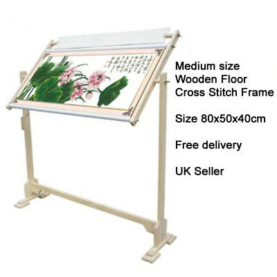 14CT Wooden Cross Stitch Frame Floor Stand Embroidery Tapestry Sewing Hoop 50cm