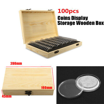 25/27/30MM Wooden 100PCS Coins Display Storage Box Case Fits Slab Certified Coin