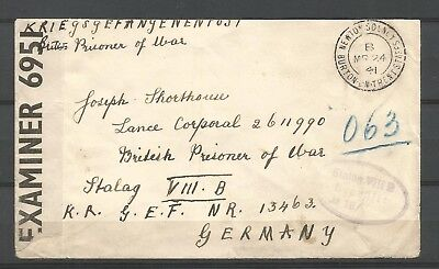 WWII,cover from Newton Solney addressed to british POW at STALAG VIIIB,Lamsdorf