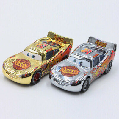 Disney Pixar Cars Lightning McQueen Gold Silver 2pcs Metal Cars Set New Loose