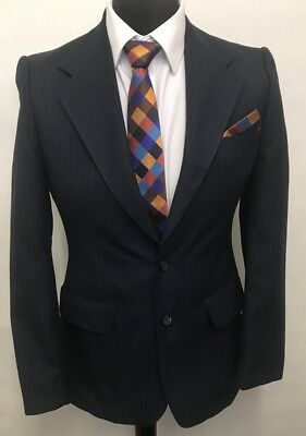 Ms2923 Vintage Hardy Amies Hepworths Men's Striped Navy Blazer Jacket Size 36 Uk