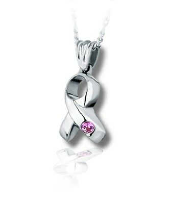 Sterling Silver Ribbon Funeral Cremation Urn Pendant for Ashes w/Chain