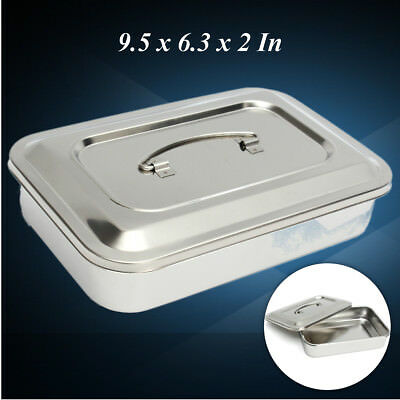 24cm Stainless Steel Dental Box Tray Holder Case Lid Storage Medical Instrument
