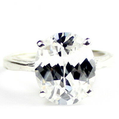 • SR055, 6 ct Cubic Zirconia (CZ), 925 Sterling Silver Ladies Ring -Handmade