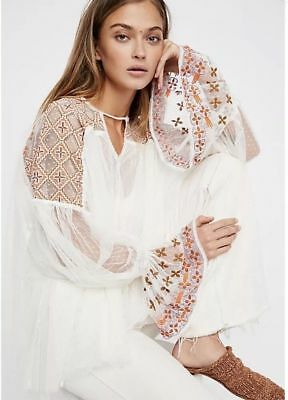 $148 Free People Joyride Lace Victorian Swing Embroidered Boho Top XS Ivory