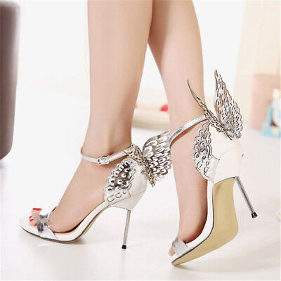 8d5a1323267b Women Butterfly Stiletto High Heels Nightclub Party Ankle Strap Sandals  Shoes