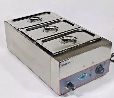 New Infernus DIGITAL Wet Well Bain Marie 3X GN 1/3 Pans and Lids included. & Tap