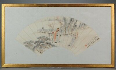 Antique Chinese Fan Painting Luo Xian 羅賢 China Qing or Republic 19th cen...