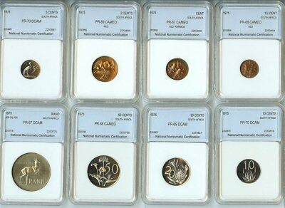 South Africa 1975 Eight Coin Encapsulated Proof Set W/silver Rand