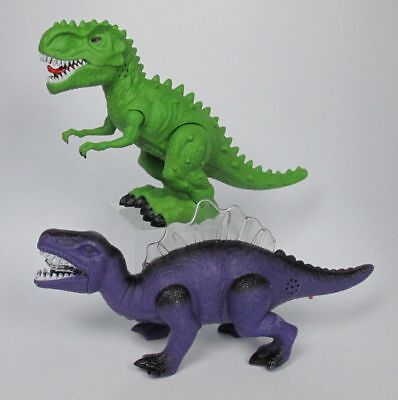 Dinosaur Toy Figures Spinosaurus Tyranosaurus Green Purple Walking Lights Sounds