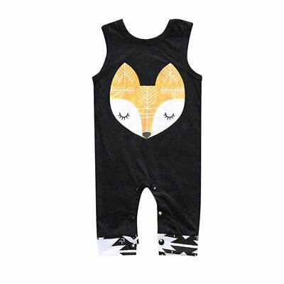 Summer Newborn Infant Baby Boys Girls Fox Pyramid Print Sleeveless Romper WS