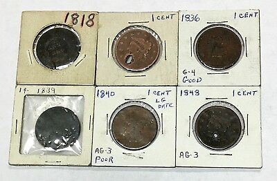 LOT OF 6 Large Cent Liberty Head/Braided Hair 1818, 1836, 1839, 1840, 1848 .....