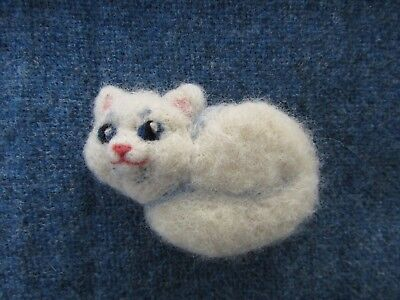 Needle felted white cat brooch
