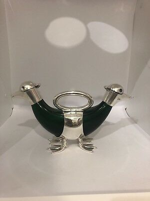 Whimsical Silver plated glass Double duck Animal decanter Signed Silverplated