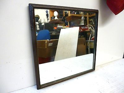 """Antique 13"""" X 13"""" Wood Framed Heavy Plate Glass Mirror"""