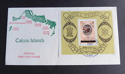 CAICOS 1981 Royal Wedding FDC First Day Cover MS Miniature Sheet Diana