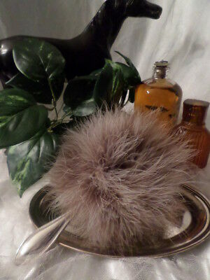 Variegated Tan & Brown Marabou Powder Puff with Silver Plated Handle