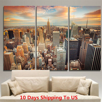 3Pcs Canvas Print New York City Manhattan Skyline Modern Picture Wall Home Decor