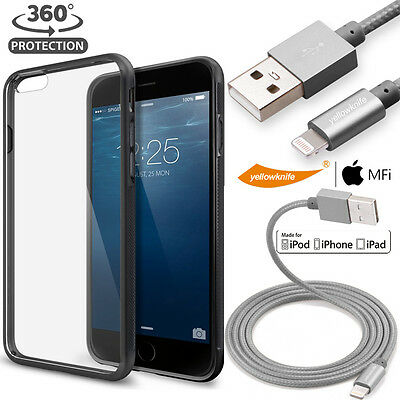 Crystal Clear Hard Back Soft Gel Bumper Case USB Charging Cable iPhone 6 6S Plus