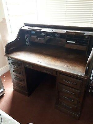 Large 1930s Roll Top Desk