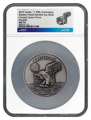 Apollo Exonumia 2019 Apollo 11 50th Robbins Medal 1 Oz Silver-pltd Antiqued Ngc Ms70 Sku55124
