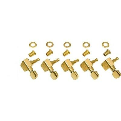 Set of 5 American Standard Fender GOLD TUNERS USA Strat Tele Tuning Pegs Line