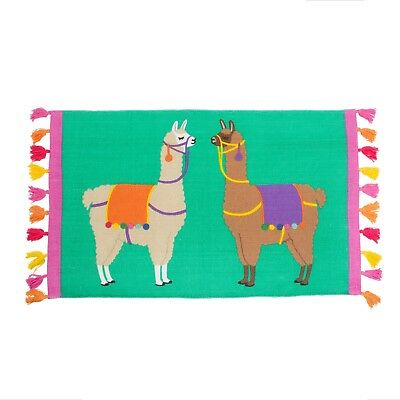 Bohemian Llama Alpaca Floor Rug Mat Cotton Multi Bedroom Lounge Hallway Nursery