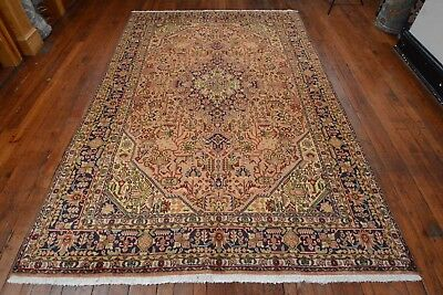 Vintage Persian Floral Geometric Design Rug, 6'x10', Coral/Blue, All wool pile