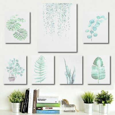 Unframed Modern Watercolor Green Palm Leaf Plant Canvas Print Wall Art Painting