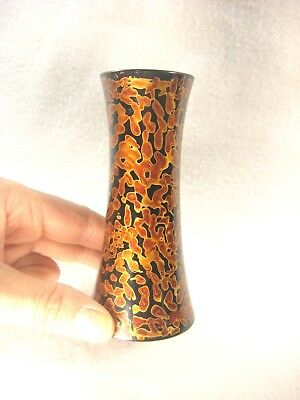 Vintage Japanese Black & Copper Lacquer Wood Tokkuri Sake Bottle Butsudan Vase