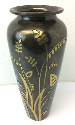 Vintage Used Art Nouveau Silver Crest SHA Co Decorated Bronze 41088 Flower Vase