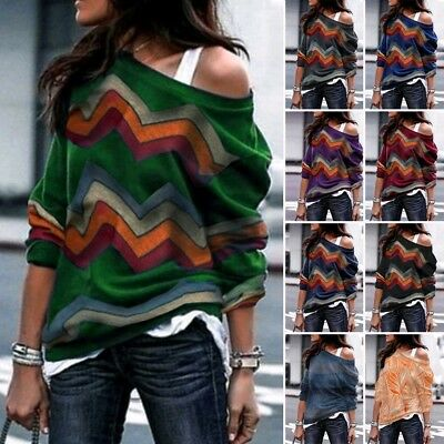 Womens Knitted Sweater Long Sleeves Pullover Casual Jumper Sweatshirt Tops Lot