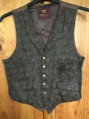 """Vintage 60's Dunn and Co shiny  brocade Waistcoat vest  40"""" Chest med"""