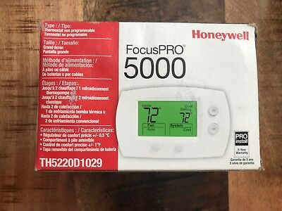 Honeywell TH5220D1029 Focuspro 5000 Non-Programmable 2 Heat/2 Cooling Thermostat