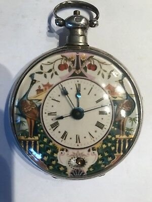 RARE BOVET 1800s Decorated Sterling Mock Pendulum Chinese Market Pocket Watch
