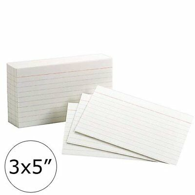 """600-Count Ruled Front Plain Back Index Cards, 3"""" x 5"""" inch White"""