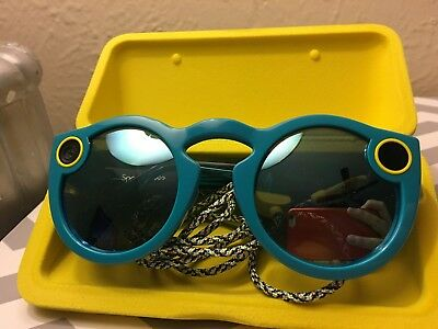 Snap Inc. Smart Glasses - Teal with Charging Case and Cable