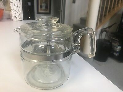 SUPERB VINTAGE Pyrex Glass 6 CUP COFFEE POT PERCOLATOR with ALL INSERTS  EXCLLNT