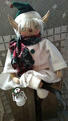 PriMitiVE FolK ArT OOAK ELF ChRiSTMas  Doll SheLF SiTTer HOliDay GiRl