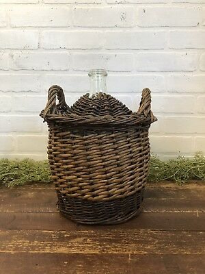 "Vintage Wicker Covered Wine Bottle Demijohn Ratan Double Handle 13"" Tall"